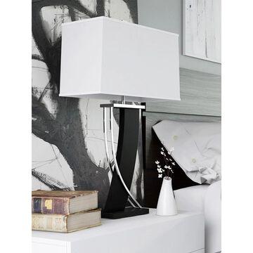 Lite Source Estella Modern Dark Walnut and Polished Steel Table Lamp