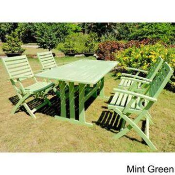 International Caravan Royal Fiji 'Ispica' Stained Acacia Hardwood Outdoor Dining Set (Set of 5) (Mint Green)