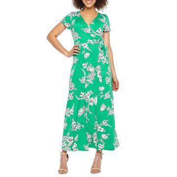 Ronni Nicole Short Sleeve Floral Maxi Dress