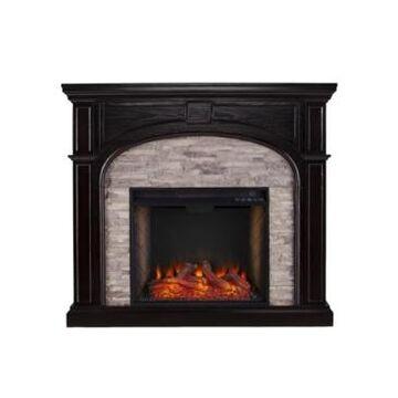 Southern Enterprises Hartford Faux Stone Alexa-Enabled Electric Fireplace