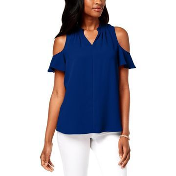 Charter Club Womens Cold Shoulder Ruffled Blouse