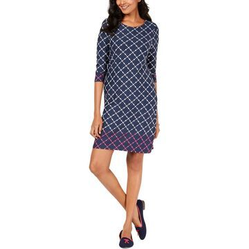 Charter Club Womens Petites Printed Knee-Length Casual Dress