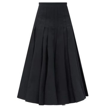 Valentino - High-rise Pleated Wool-blend Midi Skirt - Womens - Black