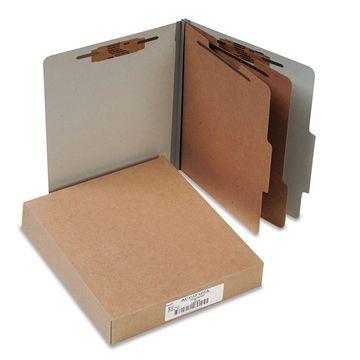 Acco Pressboard 25-Pt Classification Folders Letter 6-Section Mist Gray 10/Box