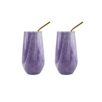 Thirstystone by Cambridge 16 Oz Geode Decal Stainless Steel Wine Tumblers with Straw, Pack of 2