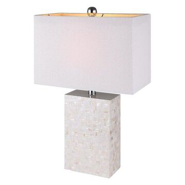 Canarm Camilla Table Lamp, White Mother of Pearl/Brussel's White Linen Shade