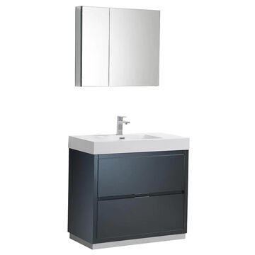 Fresca Bari 60-in Gray Undermount Double Sink Bathroom Vanity with White Quartz Top (Mirror and Faucet Included) | FVN20-3030GR