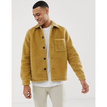 Nudie Jeans Co Sten recycled fleece borg jacket in tan