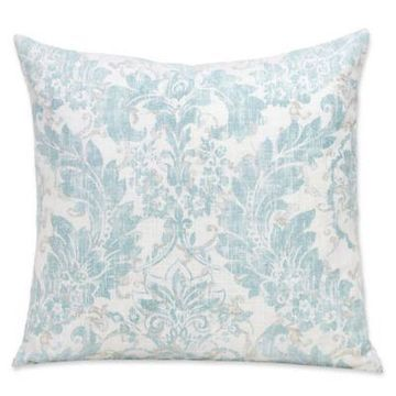 SIScovers 26-Inch Parlour Square Throw Pillow in Blue/Off White