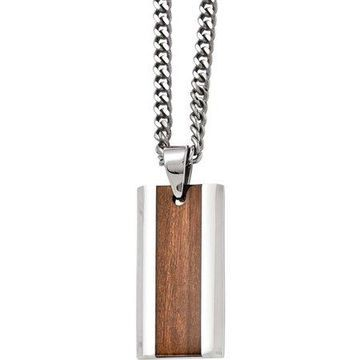 Stainless Steel Polished Brown Wood Inlay Enameled Necklace, 20
