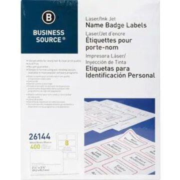 Business Source Laser/Inkjet Name Badge Labels - White (White)