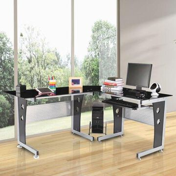 ''64'''' L-shaped Computer Desk Laptop PC Table w/ CPU Stand Keyboard Tray Glass Top''