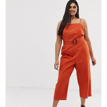 ASOS DESIGN Curve strappy pinny belted jumpsuit