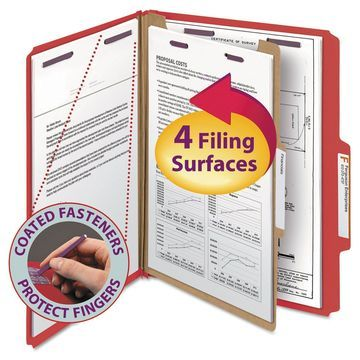 Smead Pressboard Classification Folders Letter Four-Section Bright Red 10/Box