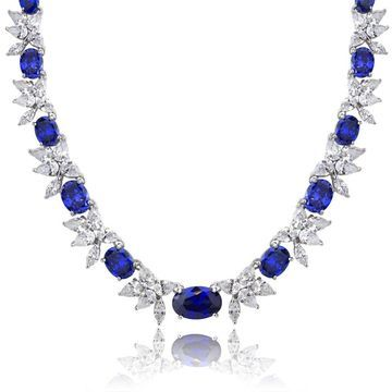 Icz Stonez Sterling Silver 59 3/4ct TGW Blue and White Cubic Zirconia Oval Flower Necklace - Silver/Blue
