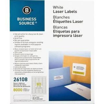 Business Source Address Laser Labels - White (White)