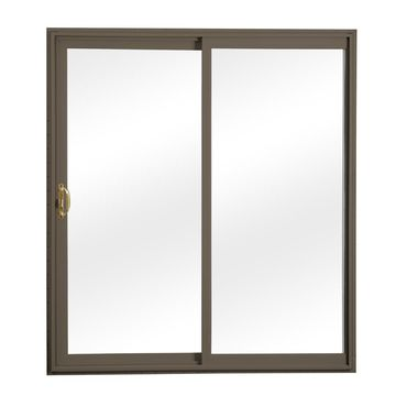 ReliaBilt Reliabilt Clear Glass Terratone Vinyl Universal Reversible Double Door Sliding Patio Door with Screen (Common: 60-in x 80-in; Actual: 58.75-in x 79.5-in)