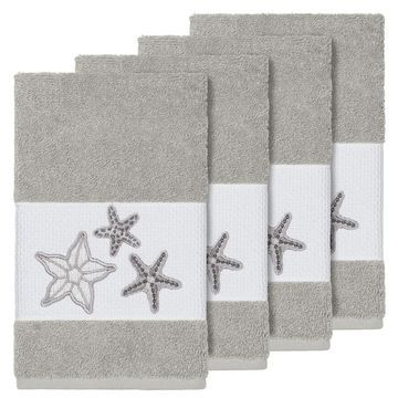 Authentic Hotel and Spa Grey Turkish Cotton Starfish Embroidered Hand Towels (Set of 4)