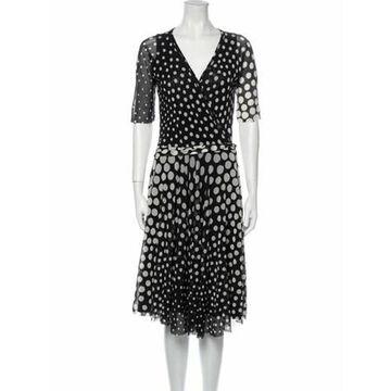 Polka Dot Print Knee-Length Dress w/ Tags Black