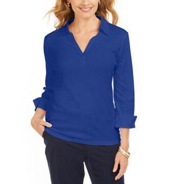Karen Scott Petite Cotton V-Neck Polo Shirt, Created for Macy's