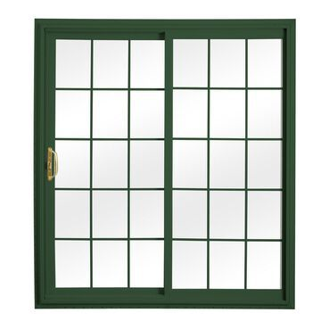 ReliaBilt Grilles Between The Glass Green Vinyl Universal Reversible Double Door Sliding Patio Door (Common: 72-in x 80-in; Actual: 70.75-in x 79.5-in)