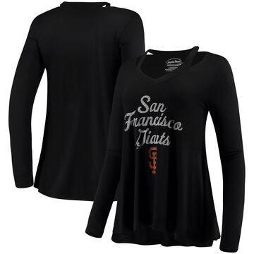 Women's Majestic Threads Black San Francisco Giants Separation Long Sleeve V-Neck T-Shirt