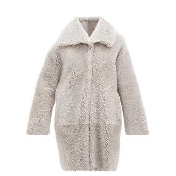 Herno - Shearling Coat - Womens - Light Grey