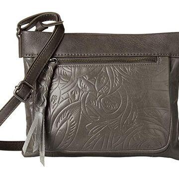The Sak Sanibel Mini Crossbody (Slate Leaf Embossed) Cross Body Handbags