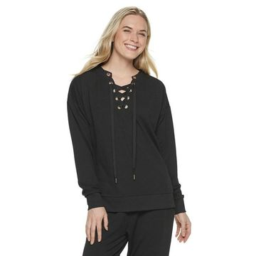 Women's Adrienne Vittadini French Terry Lace-Up Top