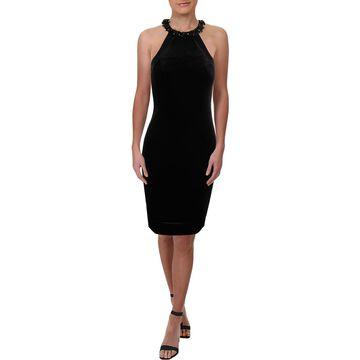 Carmen Marc Valvo Womens Velvet Halter Party Dress