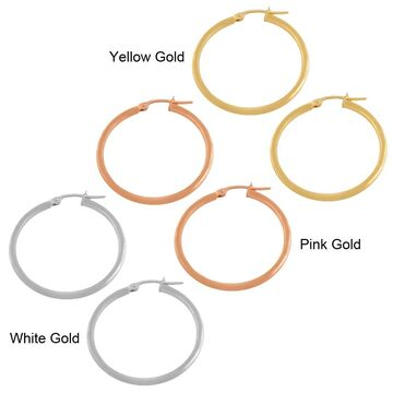 Fremada 14k Gold 2x25-mm Polished Tube Hoop Earrings (Rose Gold - Rose)