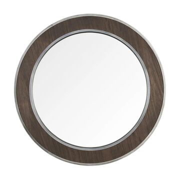 Macie 30-inch Round Wood and Metal Mirror - Farmhouse Steel, Faux Zebrawood (Farmhouse Steel, Faux Zebrawood)