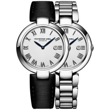 Women's Swiss Shine Black Satin Strap Watch & Interchangeable Stainless Steel Bracelet 32mm 1600-ST-00659