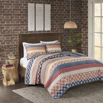Home Essence Kalene 3 Piece Reversible Printed Coverlet Set