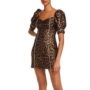 For Love & Lemons Jett Leopard Bodycon Mini Dress