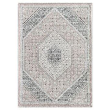 Rugs America Abstract 5' x 7' Powerloomed Area Rug in Pink