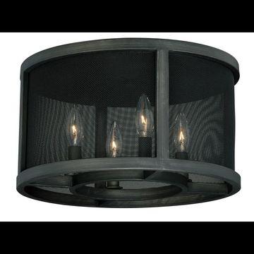 Vaxcel Lighting C0068 Wicker Park 4 Light Flush Mount Indoor Ceiling Fixture with Grey Wire Net Metal Shade - 15 Inches Wide Warm Pewter Indoor