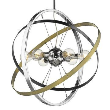 Golden Lighting Atom 6-Light Chrome Modern/Contemporary Chandelier