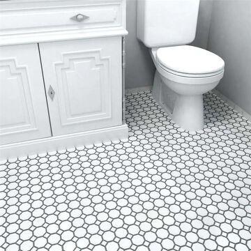 """SomerTile Metro Octagon Matte White with White Dot 11.5"""" x 11.5"""" Porcelain Mosaic"""
