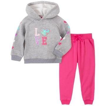 Kids Headquarters Toddler Girl 2-Piece Hooded Fleece Top with Fleece Pant Set