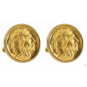 American Coin Treasures Gold-Plated 1913 First-Year-of-Issue Buffalo Nickel Goldtone Bezel Cuff Lin