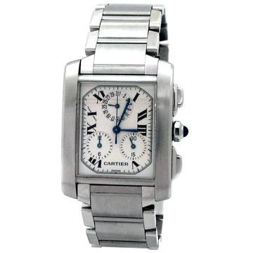 Pre-owned Large Stainless Steel Cartier Tank Francais Chrono Watch - N/A