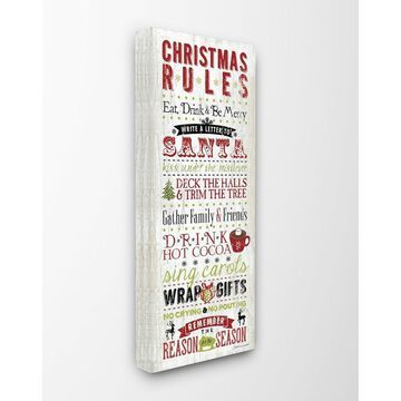 Stupell Industries Christmas Rules Typography, Proudly Made in USA - 20 x 48 (20 x 48)