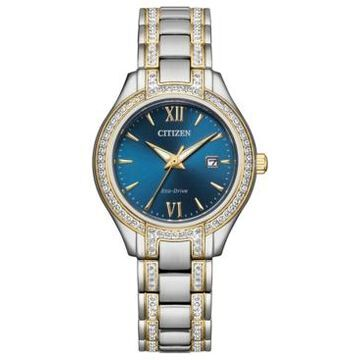 Citizen Eco-Drive Women's Silhouette Crystal Two-Tone Stainless Steel Bracelet Watch 30mm