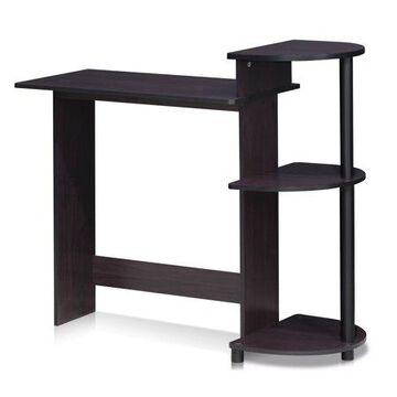 Furinno Compact Computer Desk with Shelves, Dark Walnut, 11181DWN
