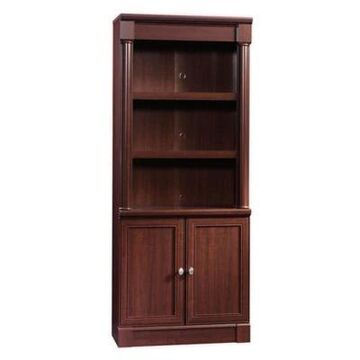 Sauder Palladia Library Bookcase with Doors in Select Cherry
