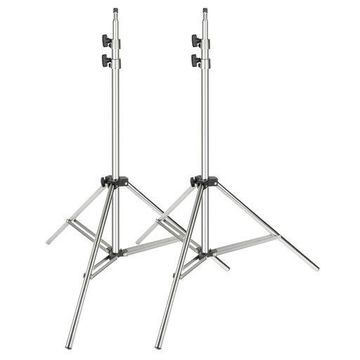 ''Neewer 2-pack Stainless Steel Light Stand 37-79 inches/95-200 centimeters Foldable Heavy Duty Support Stand for Studio Softbox,Umbrella,Strobe Light,Reflector and Other Photographic Equipment (Silver)''