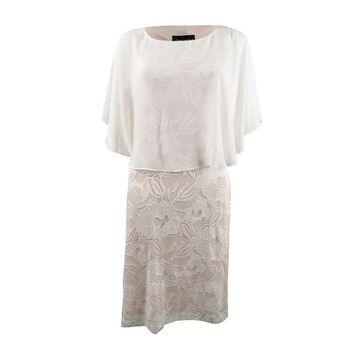 Connected Women's Lace Capelet Dress - Ivory/Light Blush