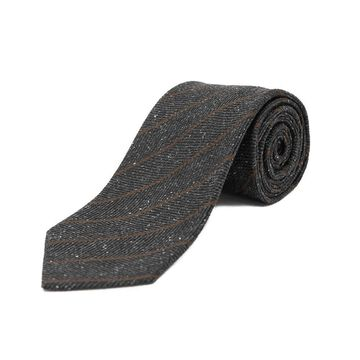 Ermenegildo Zegna Men's Silk Textured Striped Tie Blue/Brown - No Size