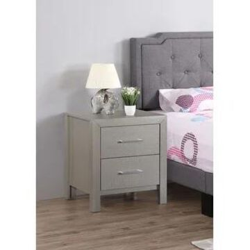 Glades 2-drawer Wood Nightstand (Silver)